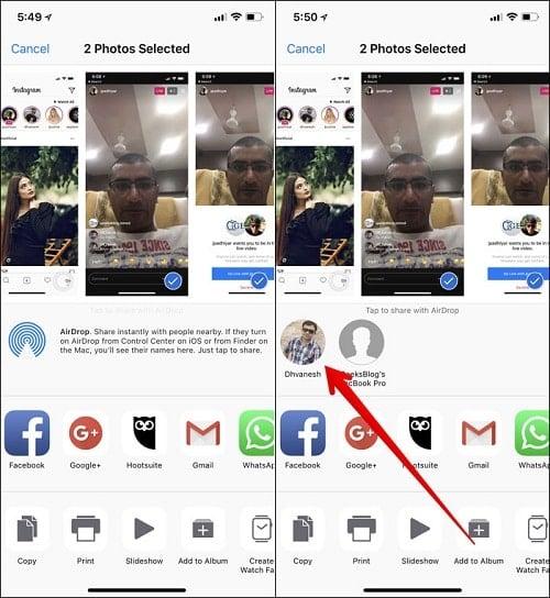 hướng dẫn dùng AirDrop trên iPhone X
