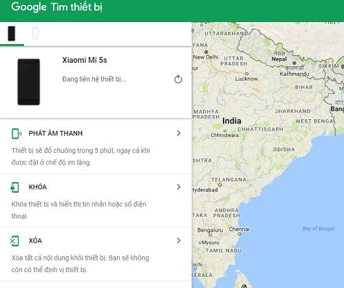 tìm điện thoại android bằng google