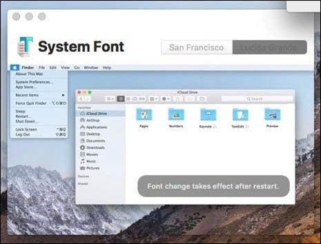 thay đổi Font chữ mặc định của MacOS High Sierra