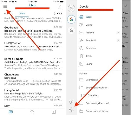 tài khoản gmail trên iphone
