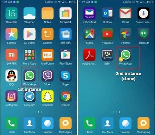 bật ứng dụng kép trên androdi xiaomi mi note