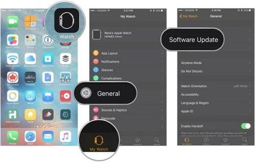 cách cật nhật mới cho Apple Watch