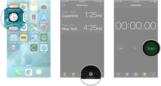 hướng dẫn dùng đồng hồ bấm giờ trên iphone