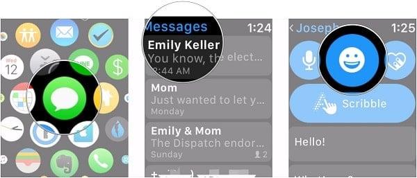 hướng dẫn gửi tin nhắn có biểu tượng trên đồng hồ apple