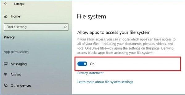 hướng dẫn chặn ứng dụng truy cập file hệ thống của windows 10