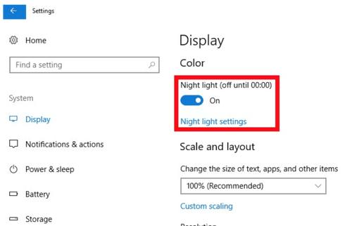 cách tắt Night Light trong Windows 10
