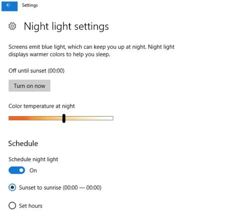 làm sao để bật Night Light trong Windows 10