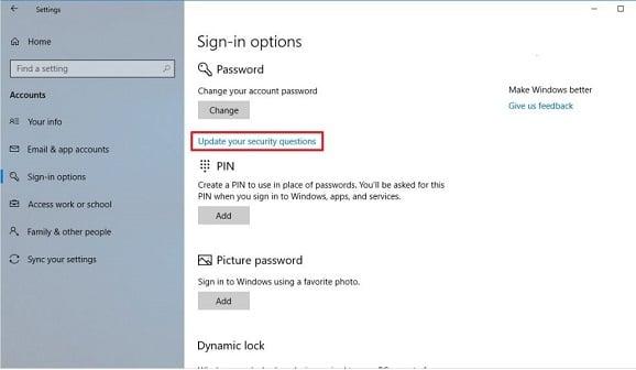 hướng dẫn đặt lại password trên windows 10