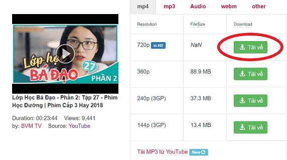 tải video youtube trên trang y2mate.com