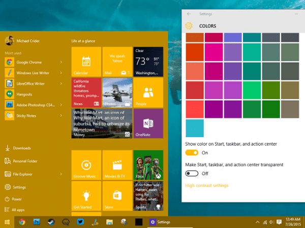 hướng dẫn dùng Menu start của Windows 10