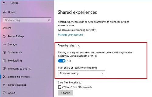 Nearby sharing trên windows 10 không hoạt động