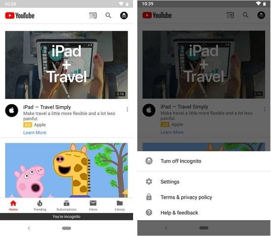 bật ẩn danh cho youtube cho android