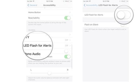 iphone có thông báo bằng đèn flash chớp chớp