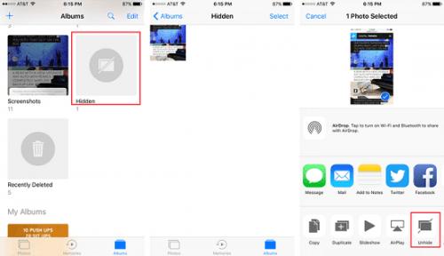 ẩn ảnh trên iPhone, iPad