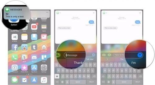 trả lời tin nhắn trên iphone nhanh
