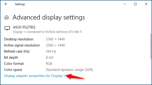 Refresh Rate trên máy tính windows 10