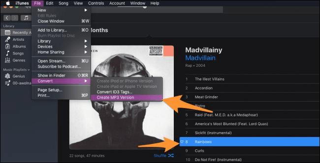 chuyển đổi iTunes bài hát sang MP3