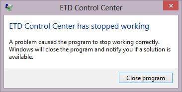 laptop bị lỗi ETD Control Center