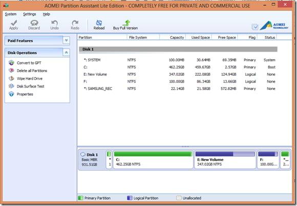 Chuyển đổi loại đĩa mà không mất dữ liệu bằng Trình trợ lý phân vùng