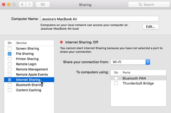 share wifi macbook