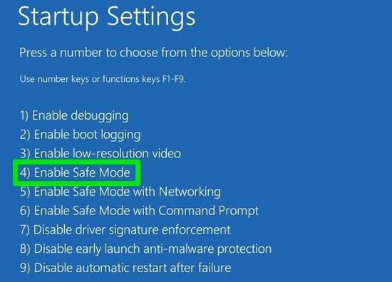 chế độ an toàn trên windows pc 10